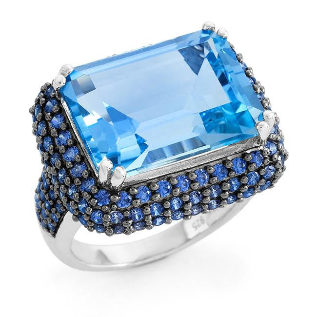 16.40 Carat Genuine Blue Topaz & Blue Cubic Zirconia Cocktail Ring in Sterling Silver