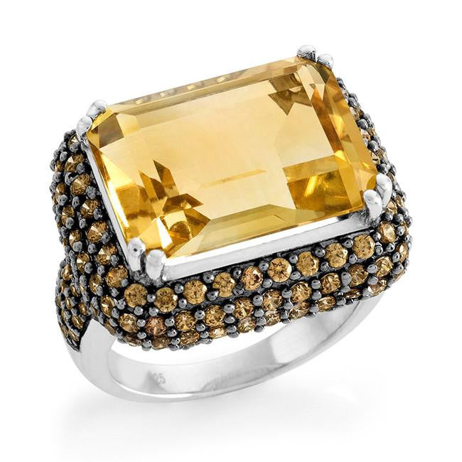 14.95 Carat Genuine Citrine & Orange Cubic Zirconia Cocktail Ring in Sterling Silver