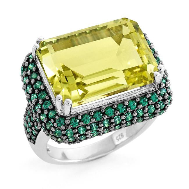 16.05 Carat Genuine Lemon Quartz & Green Cubic Zirconia Cocktail Ring in Sterling Silver