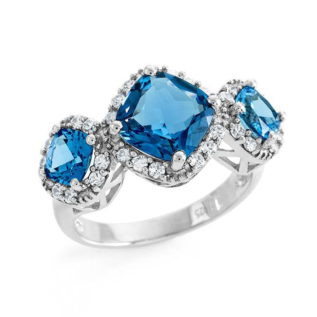 5.00 Carat Genuine Blue & London Blue Topaz & Cubic Zirconia Ring in Sterling Silver