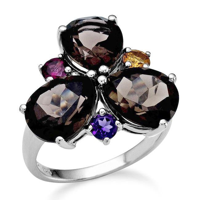 7.50 Carat Genuine Smoky Quartz Ring in Sterling Silver