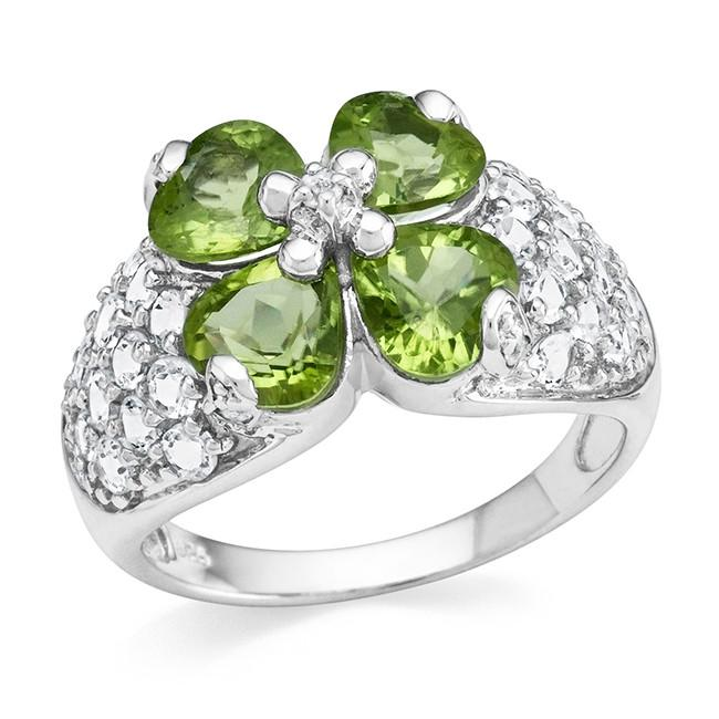 3.75 Carat Genuine Peridot Ring in Sterling Silver