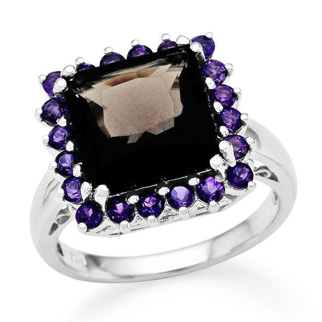 4.75 Carat Genuine Smoky Quartz & Amethyst Cocktail Ring in Sterling Silver