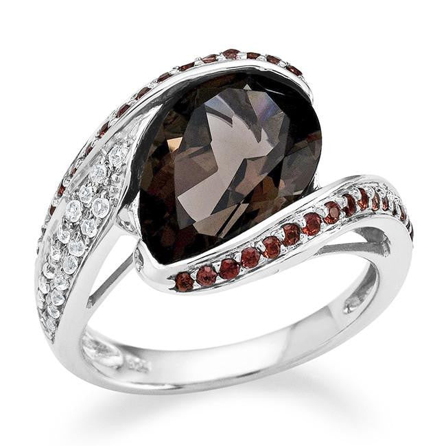 5.00 Carat Genuine Pear-Cut Smoky Quartz  & Garnet Ring in Sterling Silver