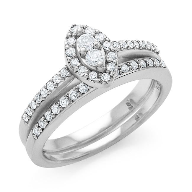 0.40 Carat Diamond Ring & Band in Sterling Silver