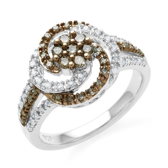0.50 Carat Champagne & White Diamond Swirl Ring in Sterling Silver