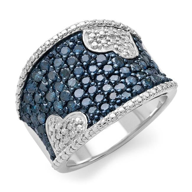 Designer 1.50 Carat Blue Diamond Ring in Sterling Silver