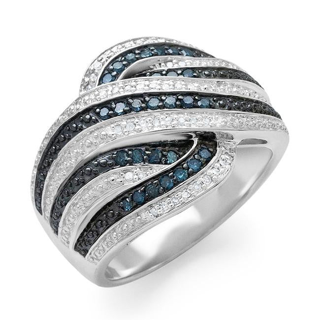 0.33 Carat Blue & White Diamond Ring in Sterling Silver