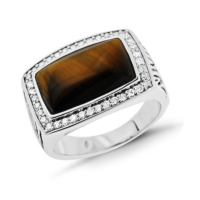 0.33 Carat Diamond & Tiger's Eye Men's Ring in Sterling Silver