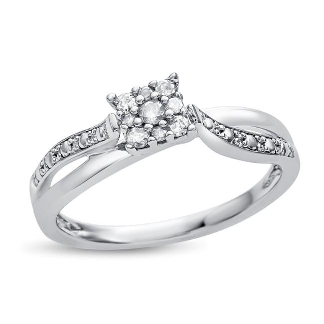 1/6 Carat Diamond Engagement/Promise Ring in Sterling Silver