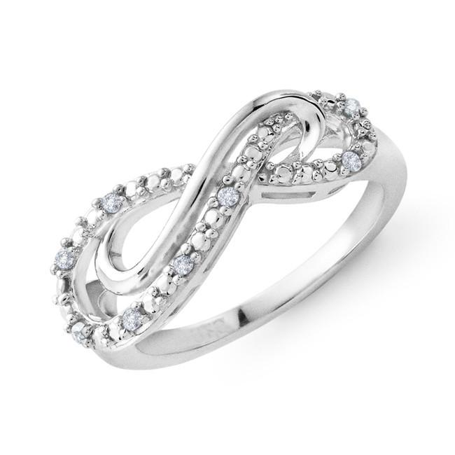 Sterling Silver & Diamond Double Infinity Ring