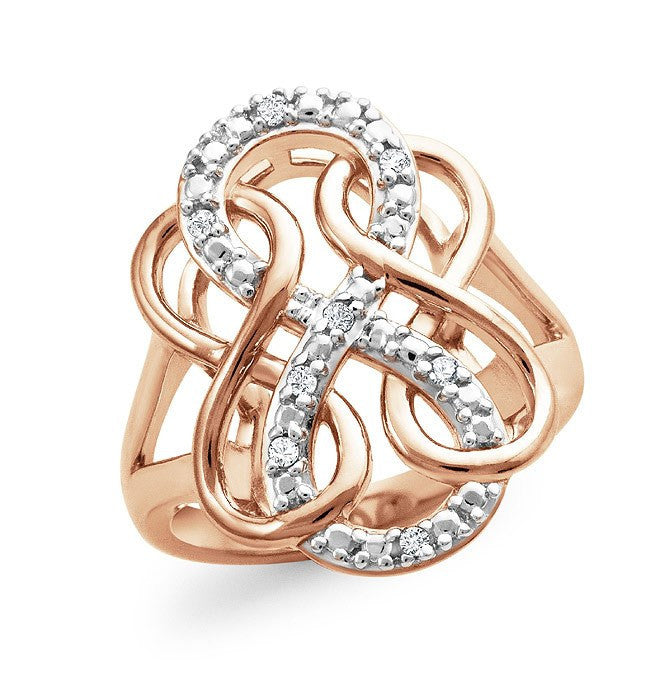 Diamond Accent Triple Infinity Ring In Rose Gold-Plated Sterling Silver