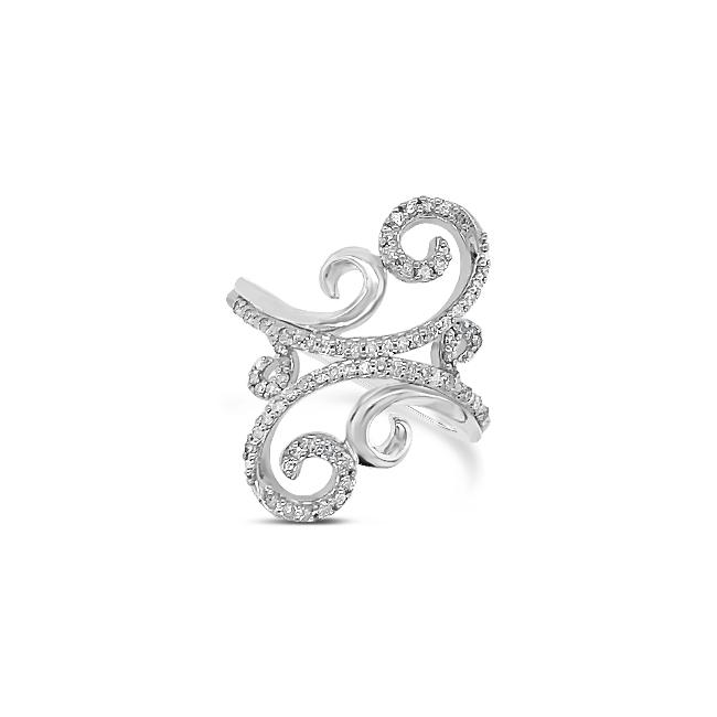 1/4 Carat Diamond Swirl Ring in Sterling Silver