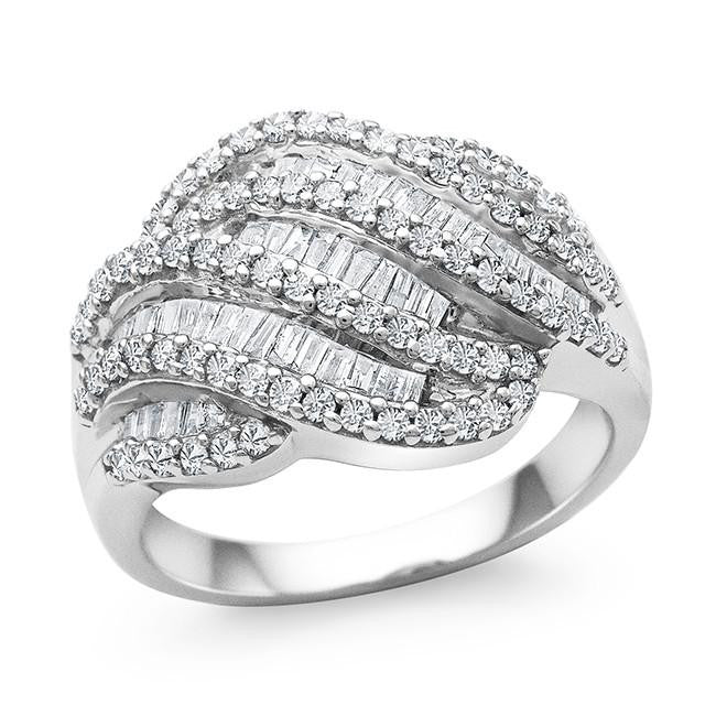 1.00 Carat Diamond Swirl Ring in Sterling Silver