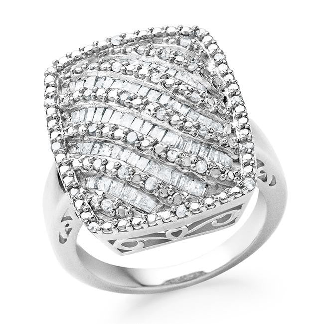 1.00 Carat Genuine Diamond Fashion Ring in Sterling Silver