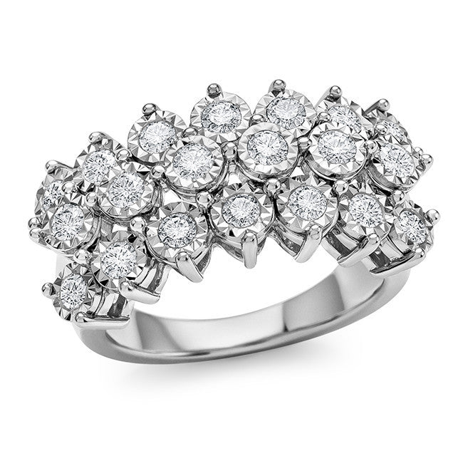 1.00 Carat Diamond Miracle-Set Ring in Sterling Silver
