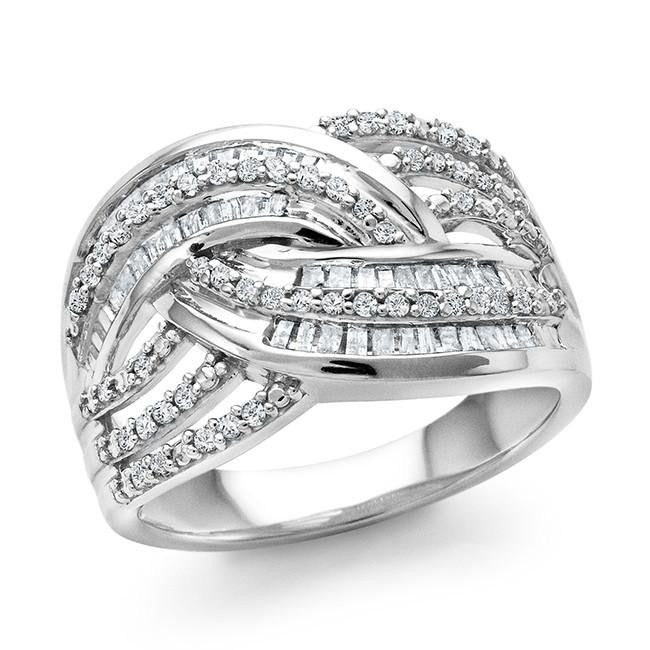 1/2 Carat Diamond Crossover Ring in Sterling Silver