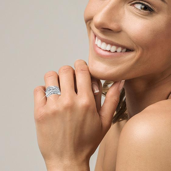 3/4 Carat Diamond Crossover Ring in Sterling Silver