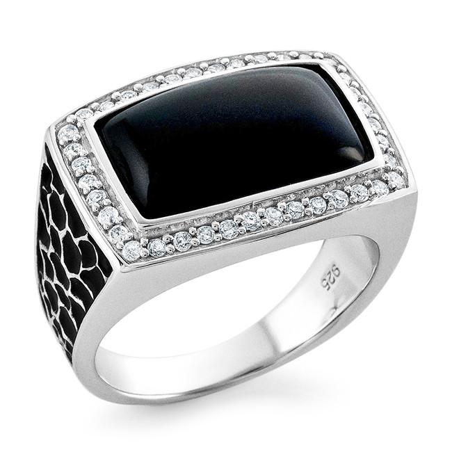Mens Shop: 0.35 Carat Diamond & Black Onyx Mens Ring in Sterling Silver