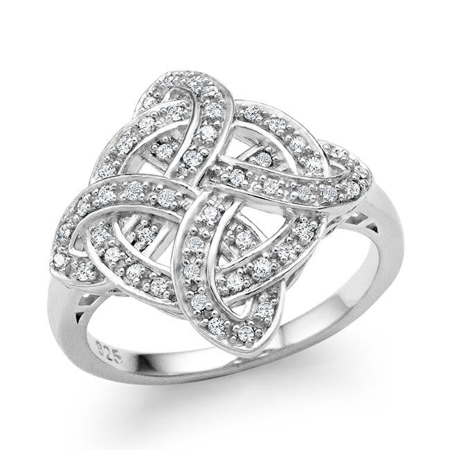 1/4 Carat Diamond Celtic Cross Ring in Sterling Silver
