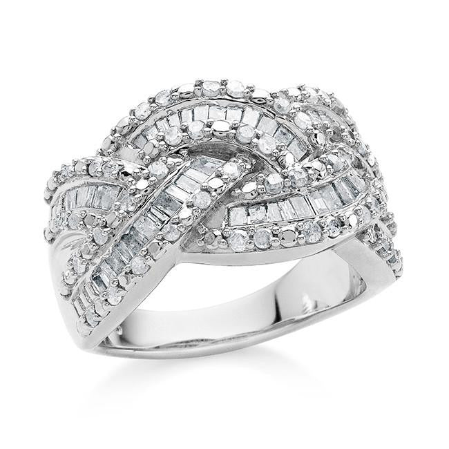 1.00 Carat Diamond Weave Ring in Sterling Silver
