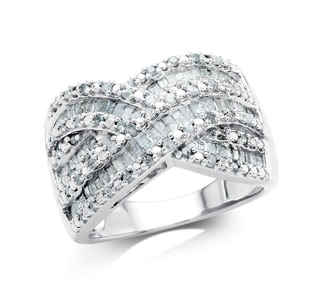 1.00 Carat Diamond Crossover Ring in Sterling Silver