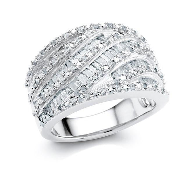 1.00 Carat Diamond Wave Ring in Sterling Silver