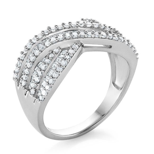 1.00 Carat Diamond Criss Cross Ring in Sterling Silver