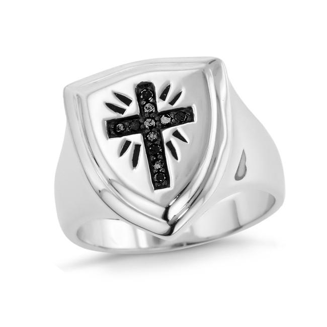 Black Diamond Cross Men's Ring in Sterling Silver