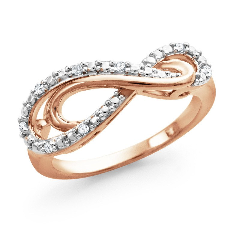 Diamond Infinity Ring in Rose-Gold Sterling Silver