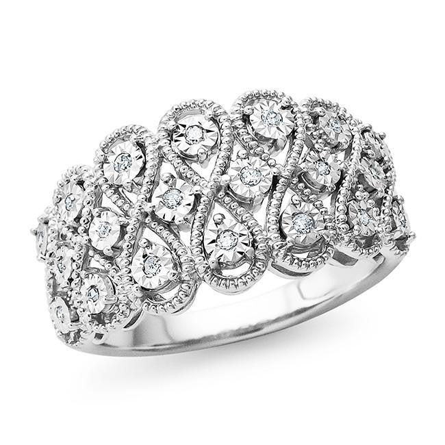 0.10 Carat Diamond Accent Fashion Ring in Sterling Silver