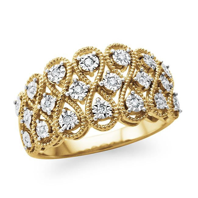 0.10 Carat Diamond Accent Fashion Ring in Gold-Plated Sterling Silver