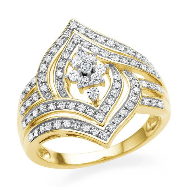 0.50 Carat Diamond Ring in Gold-Plated Sterling Silver