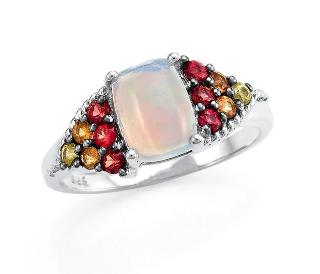 1.25 Carat Genuine Opal & Multi-Colored Sapphire Ring in Sterling Silver