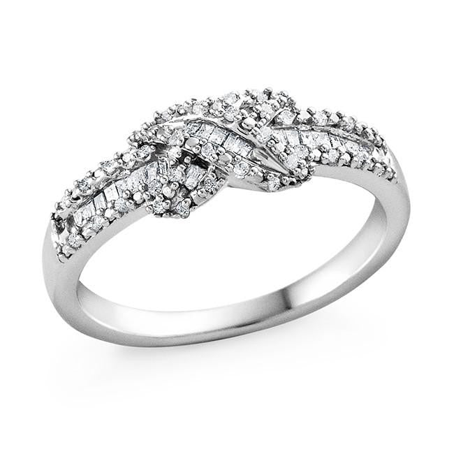 1/4 Carat Diamond Infinity Ring in Sterling Silver