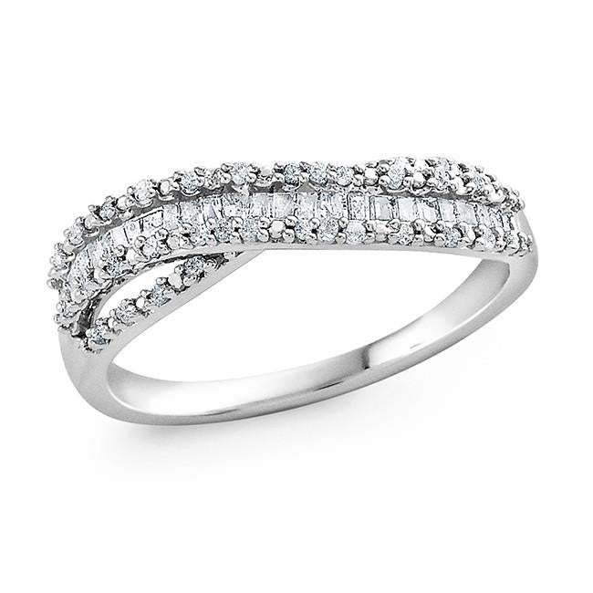 1/4 Carat Diamond Wave Ring in Sterling Silver