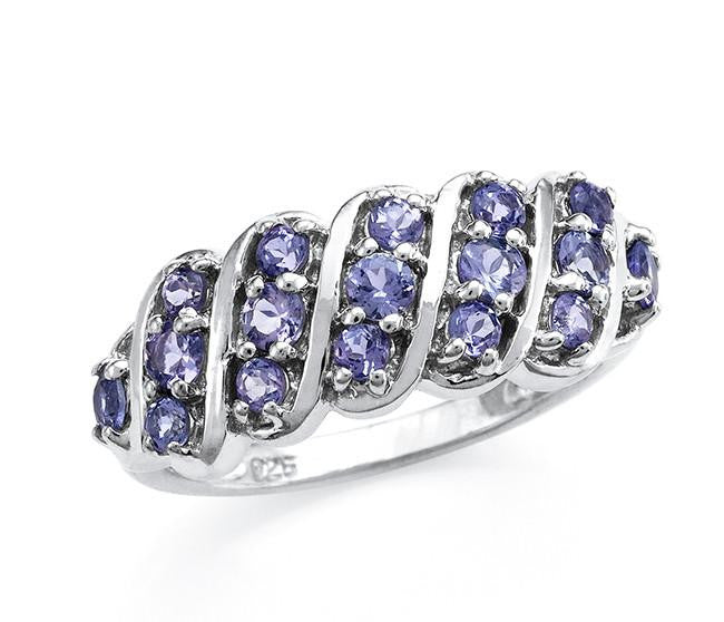 0.65 Carat Genuine Tanzanite Ring in Sterling Silver
