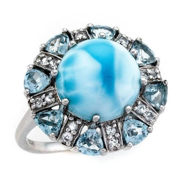 Cabochon Round Larimar Ring with Blue & White Topaz Accents in Sterling Silver
