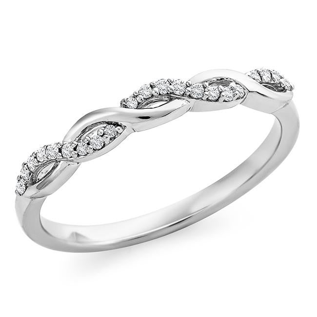 1/10 Carat Diamond Infinity Ring in Sterling Silver