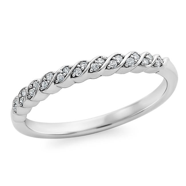 1/10 Carat Diamond Swirl Band in Sterling Silver