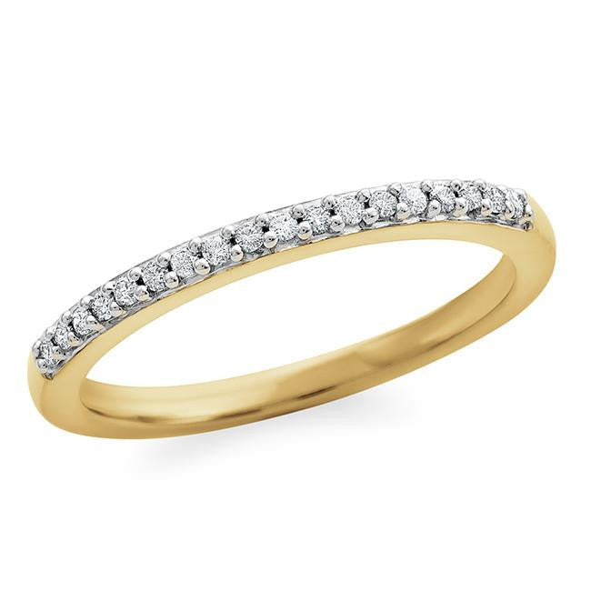 1/10 Carat Diamond Band in Gold-Plated Sterling Silver