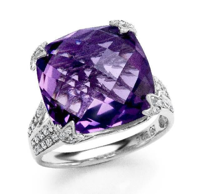 9.85 Carat Genuine Amethyst & Diamond Cocktail Ring in Sterling Silver