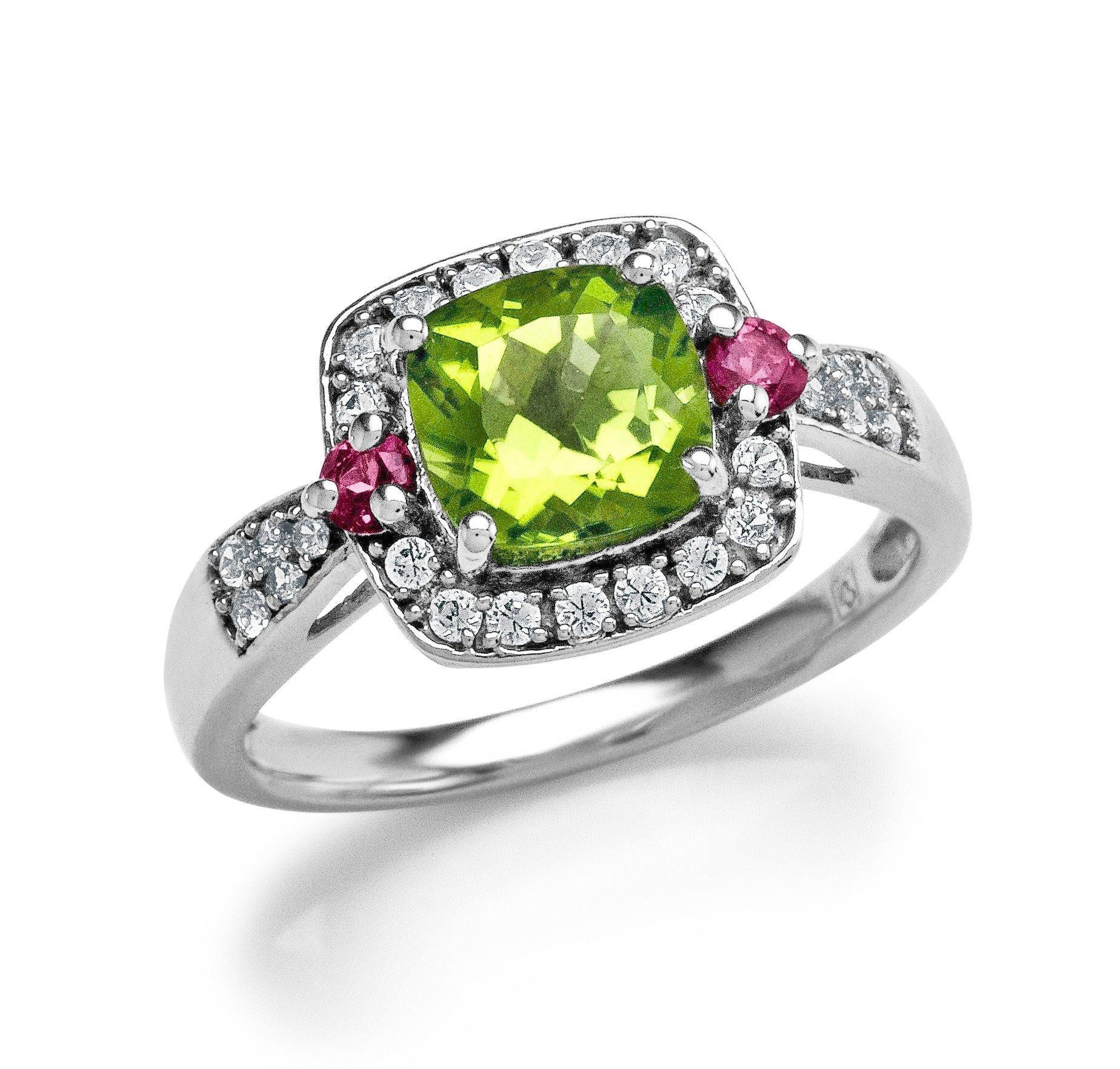 1.85 Carat Genuine Peridot & Pink Tourmaline & Created White Sapphire Ring in Sterling Silver