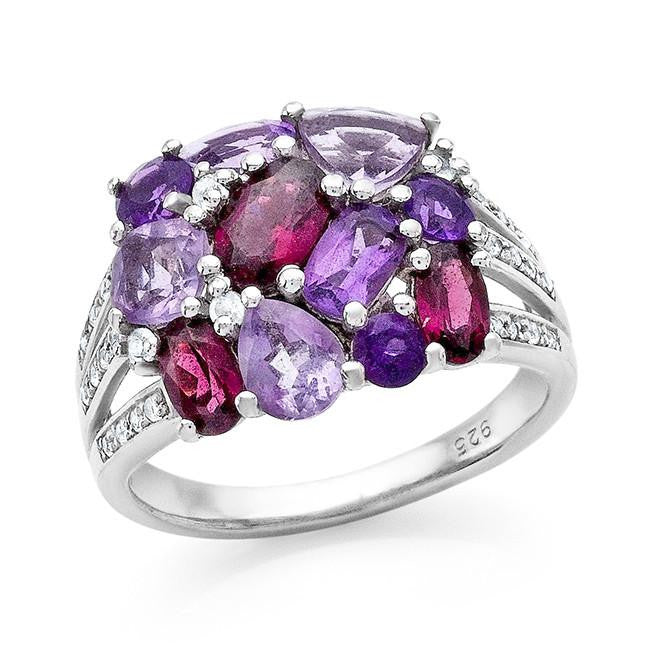 3.00 Carat Genuine Garnet, Amethyst & White Topaz Ring in Sterling Silver