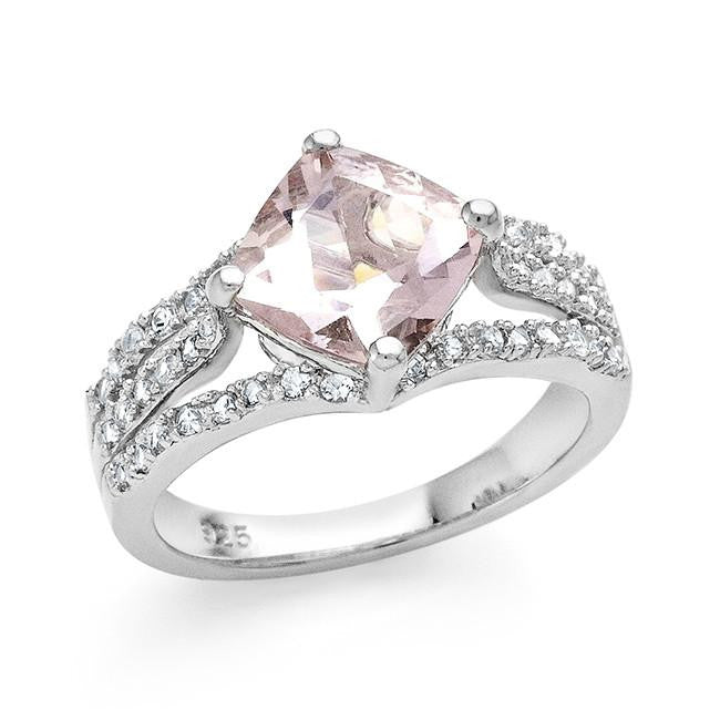 2.45 Carat Genuine Morganite & White Sapphire Ring in Sterling Silver