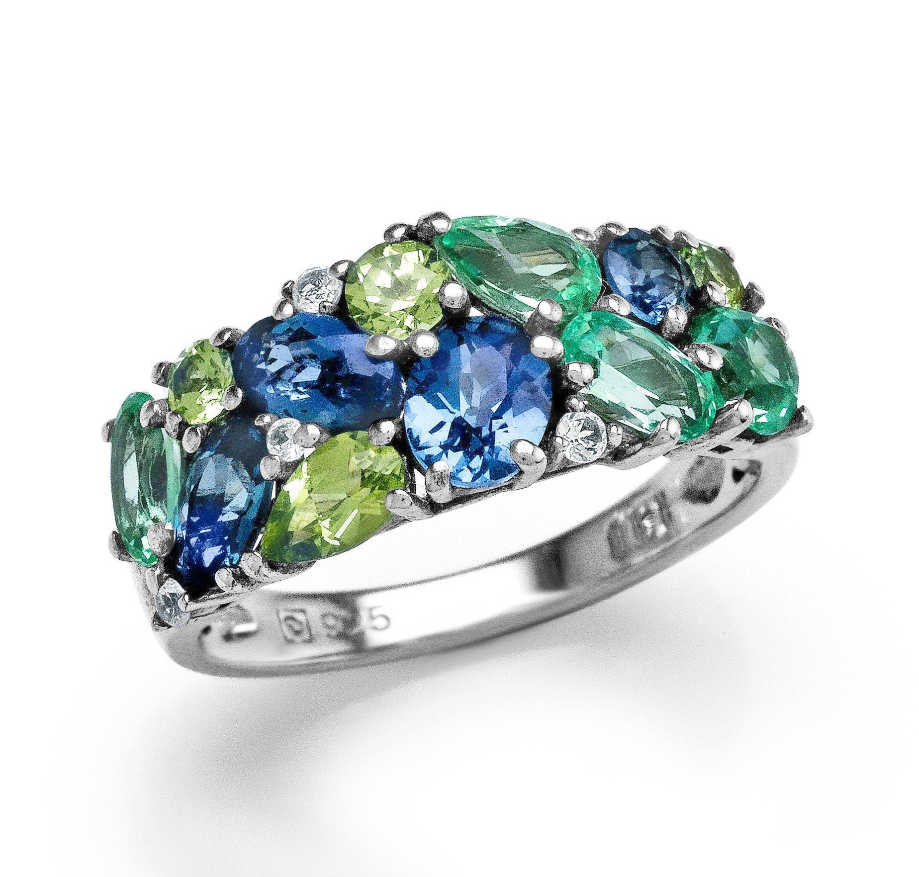 2.35 Carat Multi-Color Gemstone Ring in Sterling Silver