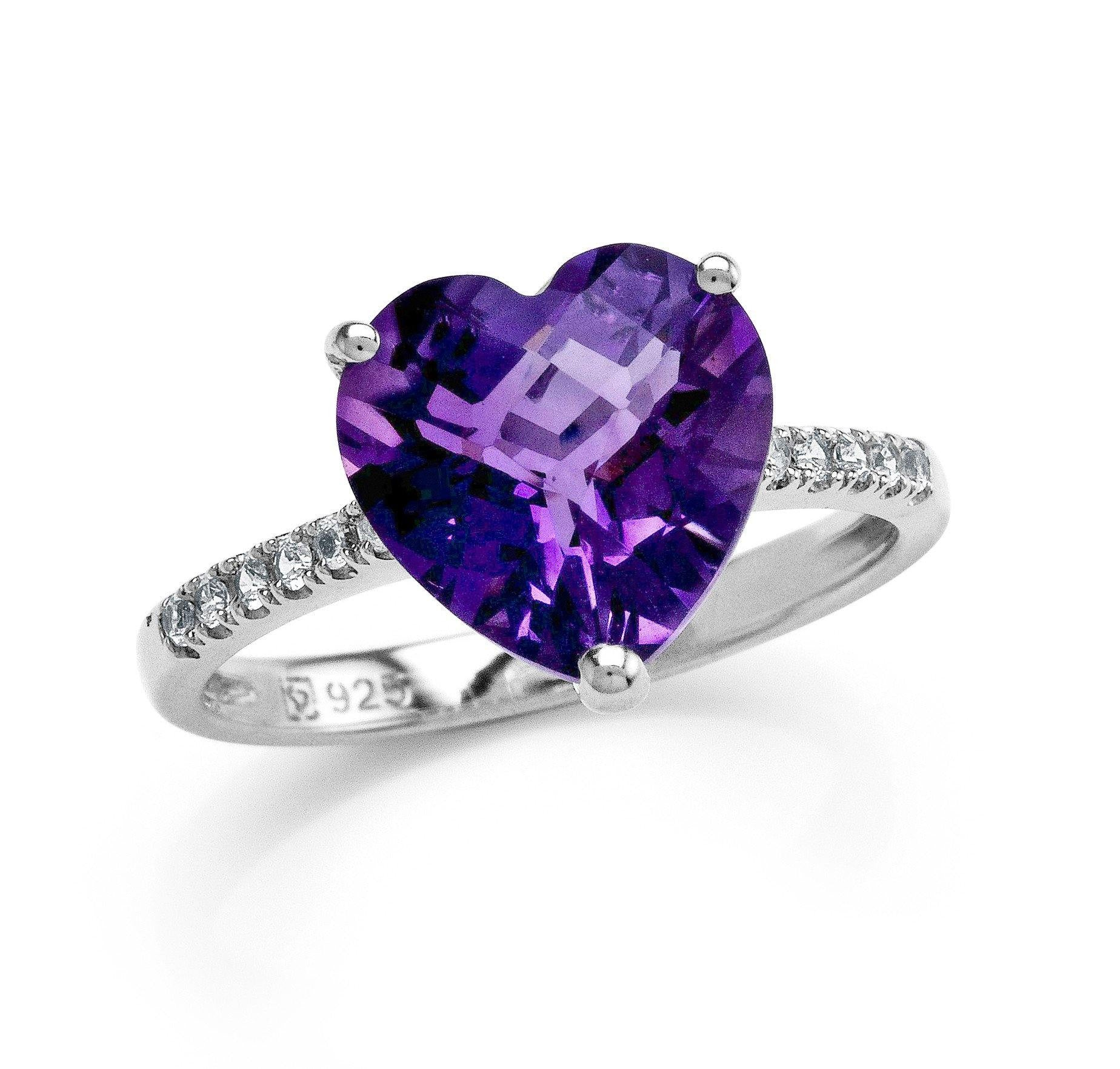 3.40 Carat Genuine Checkerboard Heart Amethyst & Created White Sapphire Ring in Sterling Silver