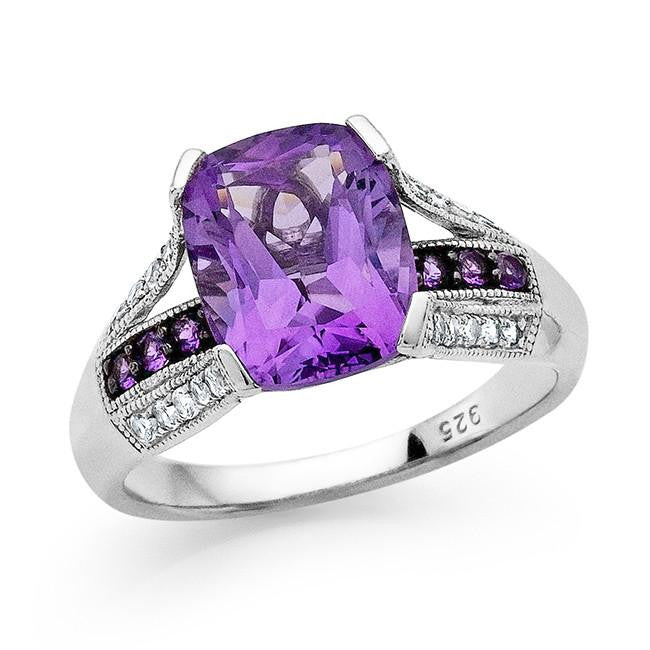 3.20 Carat Genuine Amethyst & White Topaz Ring in Sterling Silver