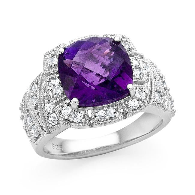 4.85 Carat Genuine Amethyst & White Sapphire Ring in Sterling Silver
