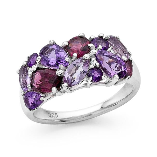 2.90 Carat Genuine Mutli-Color Gemstone Ring in Sterling Silver